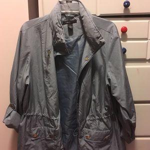 gray blue polyester thin rain jacket